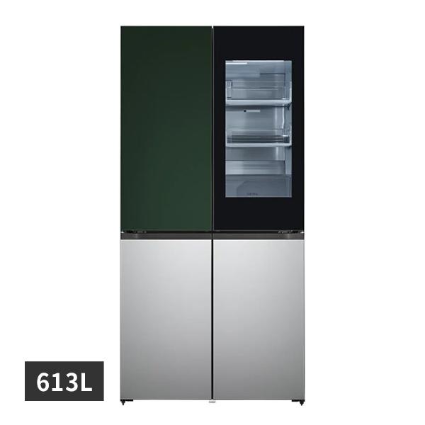 [LG] 디오스 노크온 오브제컬렉션 양문형냉장고 그린실버 613L