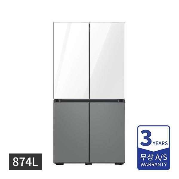[삼성] 비스포크 냉장고 4도어 프리스탠딩 글램화이트/새틴그레이 874L